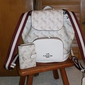 Coach horse and carriage backpack and wallet